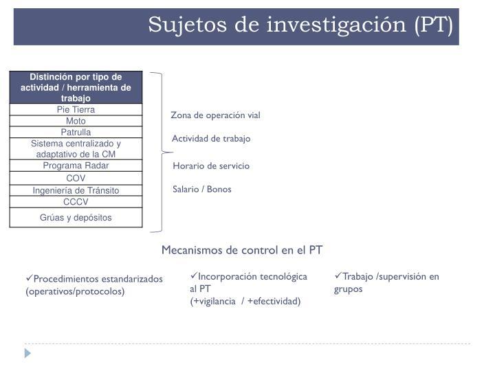 Sujetos de investigación (PT)