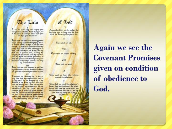 Again we see the Covenant Promises given on condition of obedience to God.