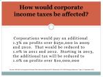 how would corporate income taxes be affected