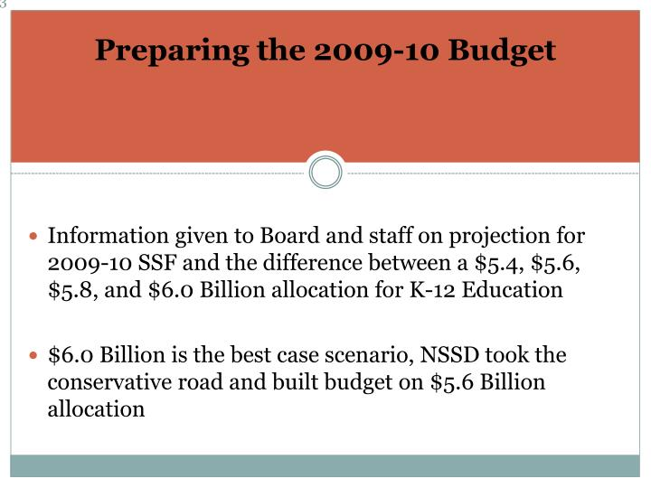 Preparing the 2009-10 Budget