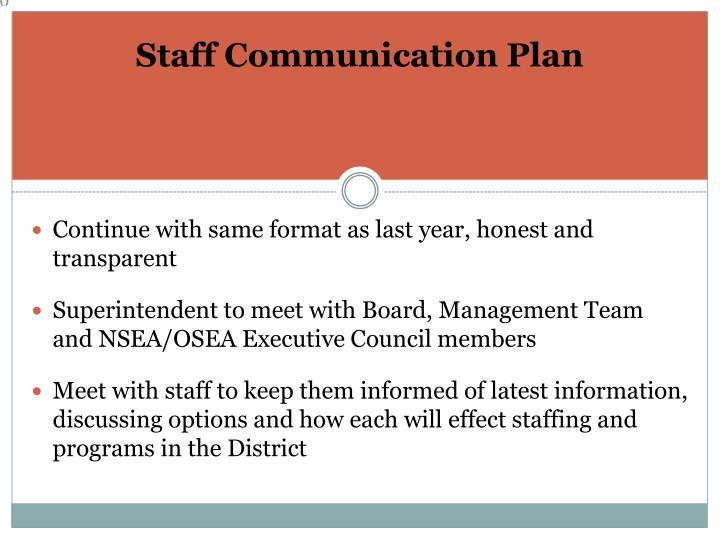 Staff Communication Plan