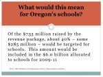 what would this mean for oregon s schools