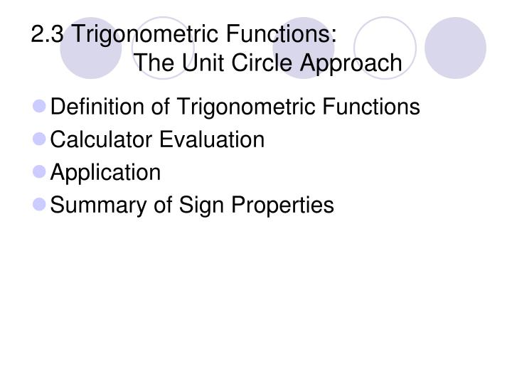 2 3 trigonometric functions the unit circle approach