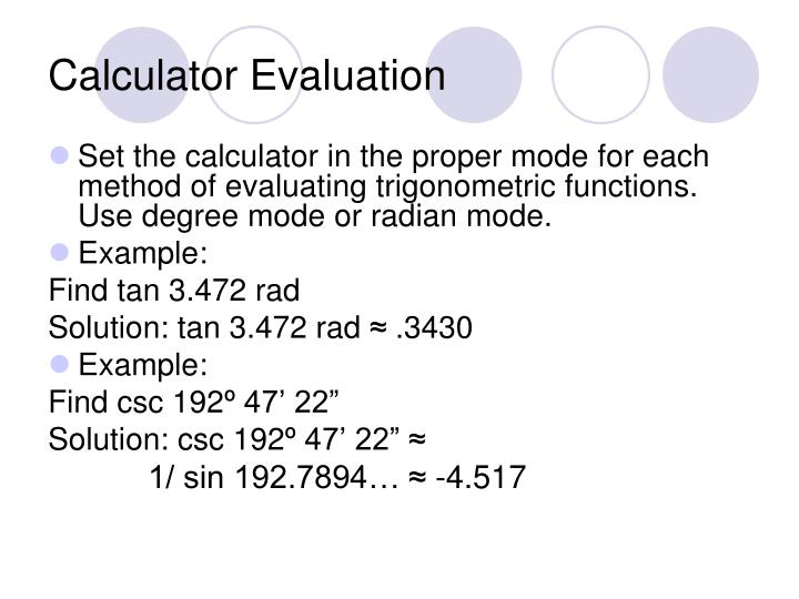 Calculator Evaluation