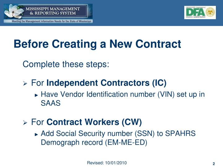 Before Creating a New Contract