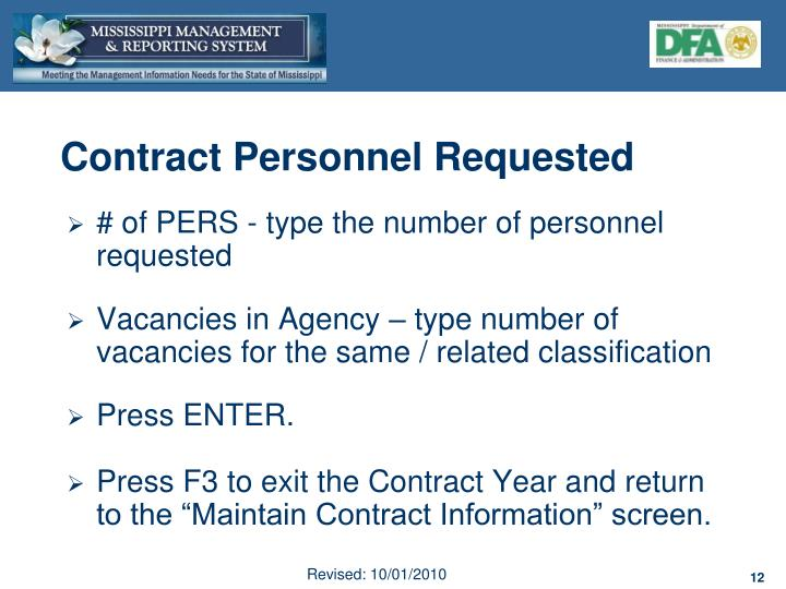 Contract Personnel Requested