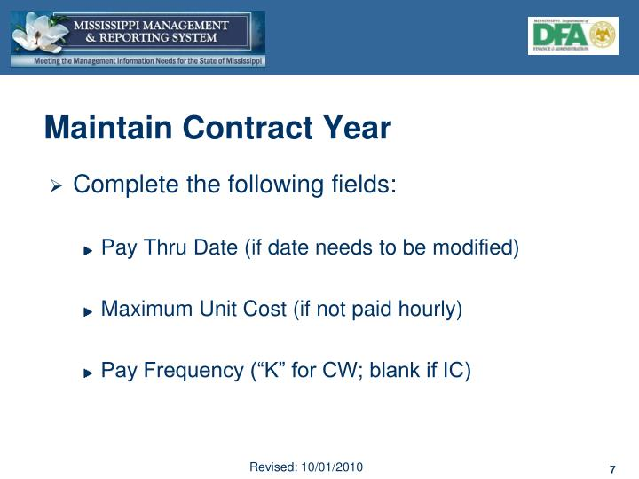 Maintain Contract Year