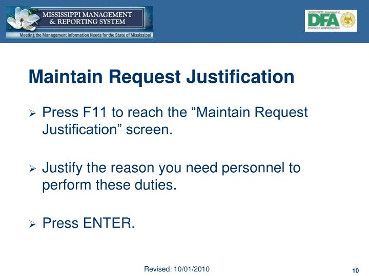 Maintain Request Justification