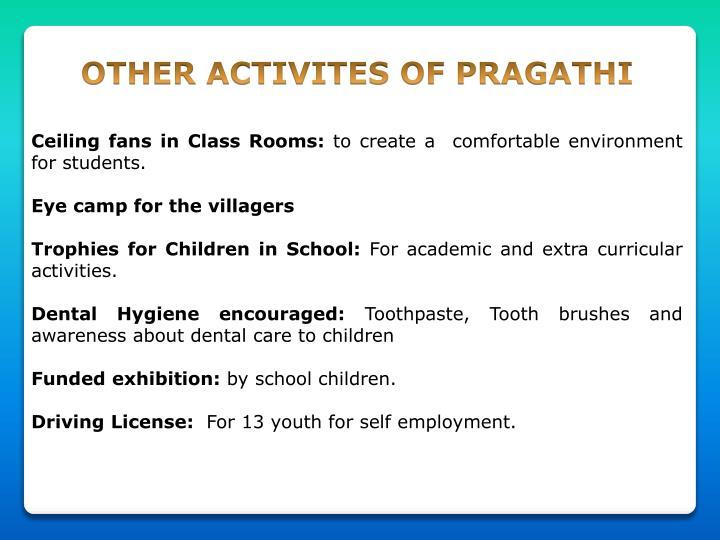 OTHER ACTIVITES OF PRAGATHI