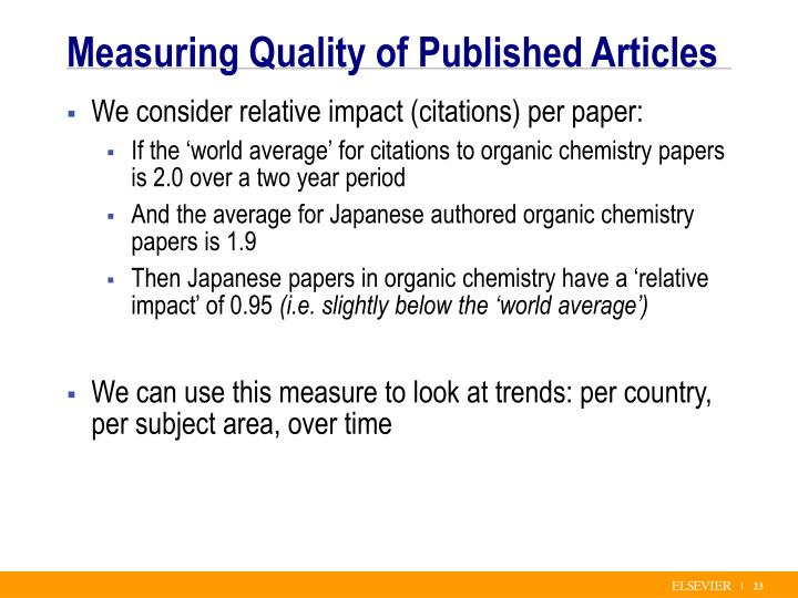 Measuring Quality of Published Articles