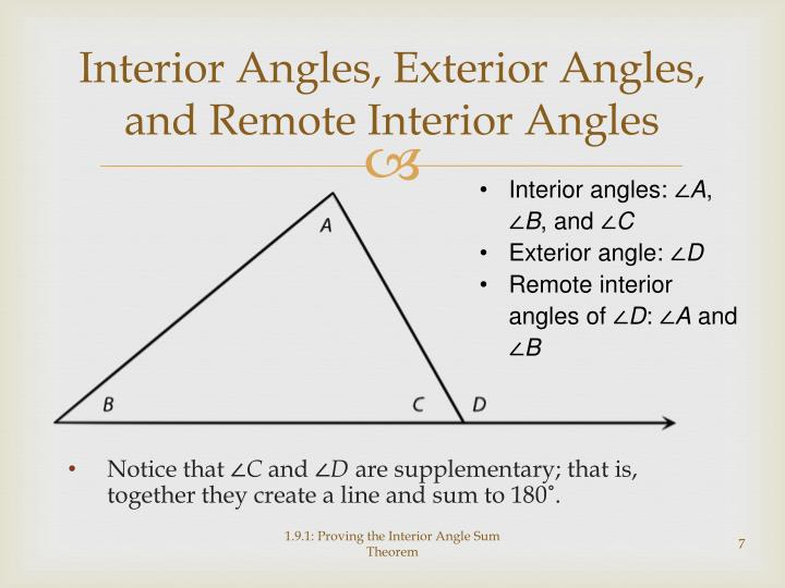 PPT Proving The Interior Angle Sum Theorem PowerPoint Presentation ID 486