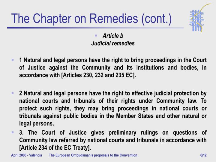 The Chapter on Remedies (cont.)