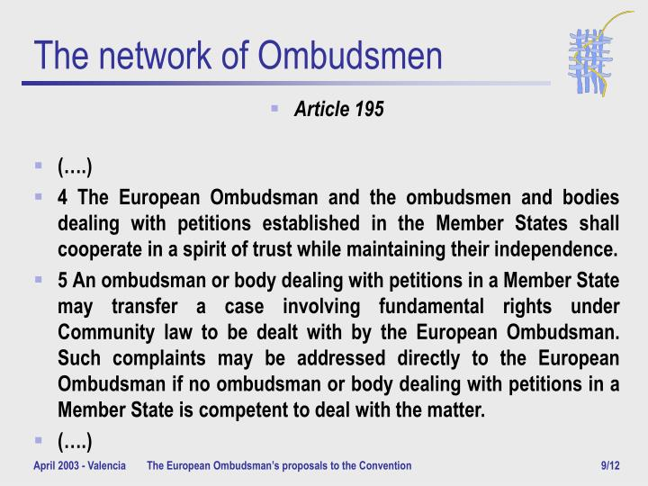 The network of Ombudsmen