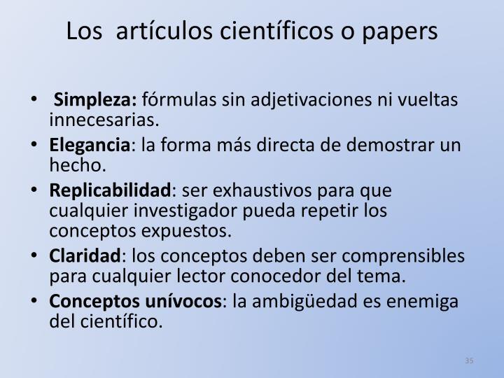 Los  artículos científicos o