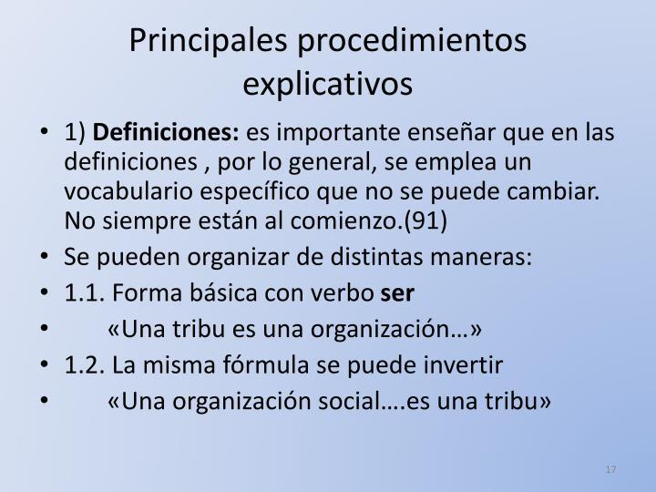 Principales procedimientos explicativos