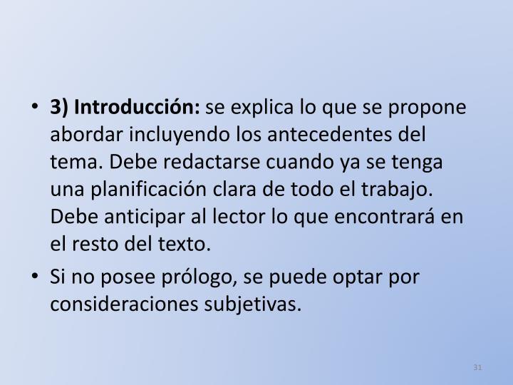 3) Introducción: