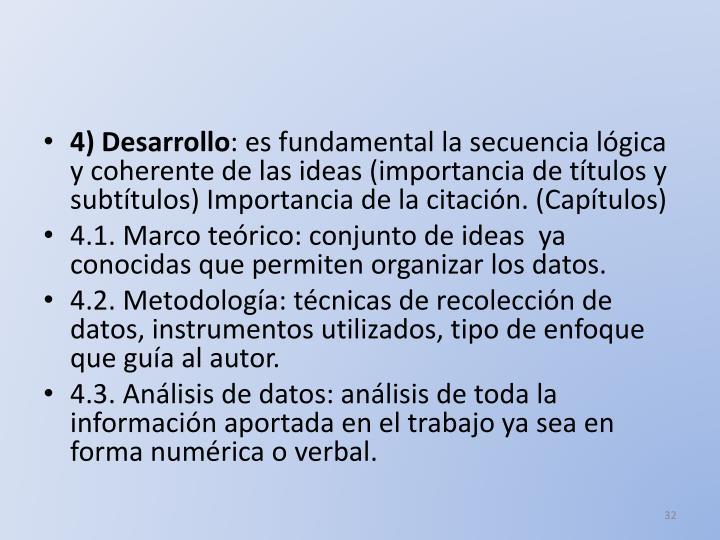 4) Desarrollo