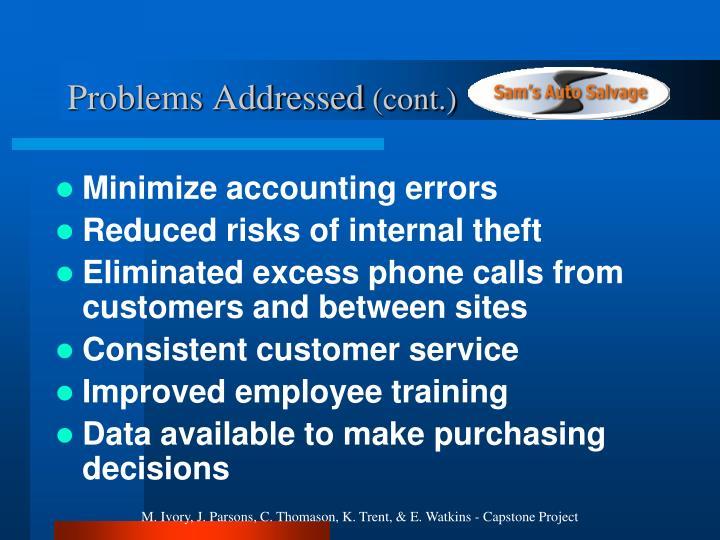 Problems Addressed
