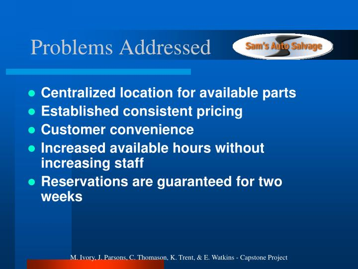 Centralized location for available parts