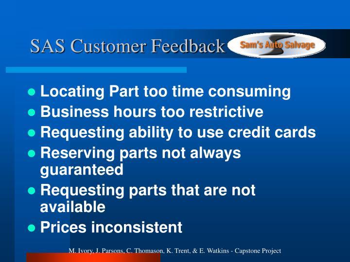 SAS Customer Feedback