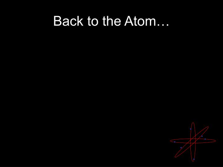 Back to the Atom…
