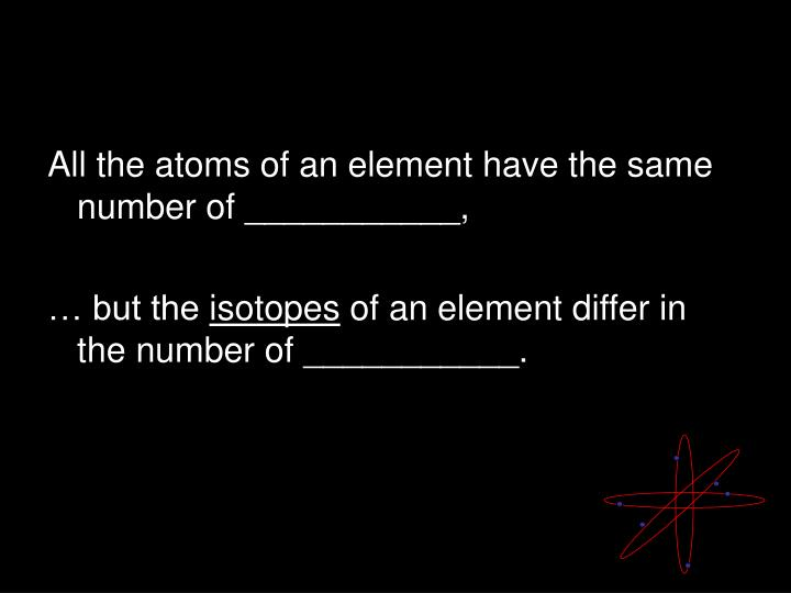 All the atoms of an element have the same number of ___________,