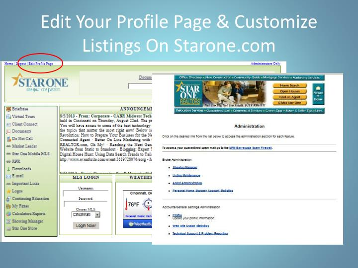 Edit Your Profile Page & Customize Listings On Starone.com