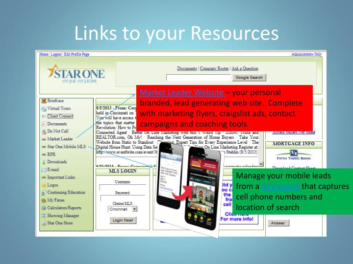 Links to your Resources