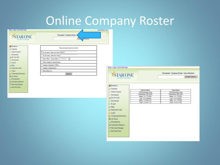 Online Company Roster