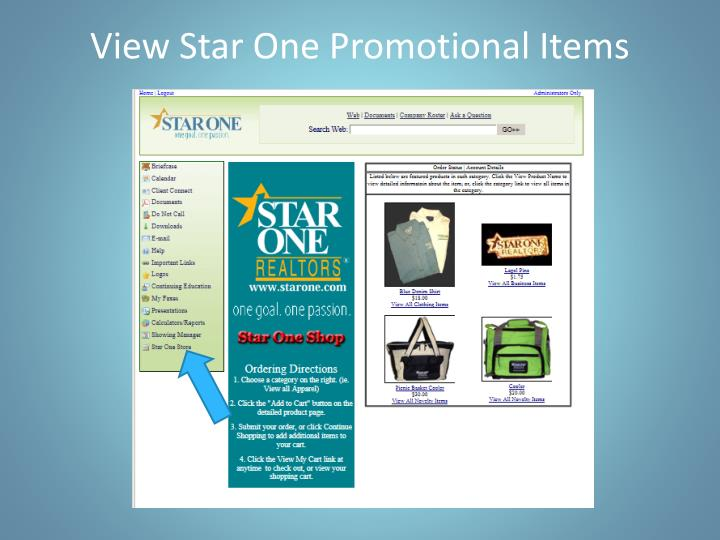View Star One Promotional Items