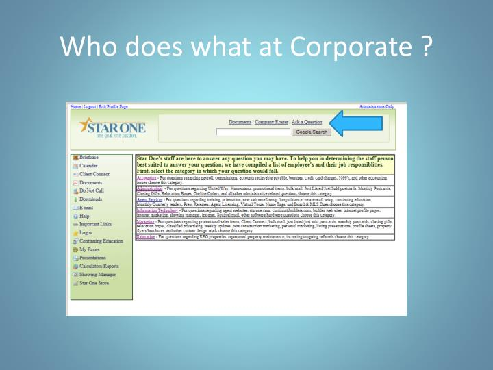 Who does what at Corporate ?