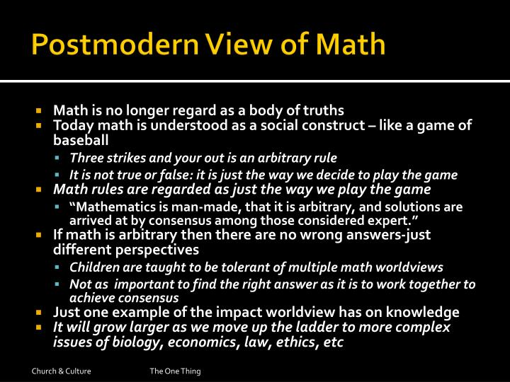 Postmodern View of Math