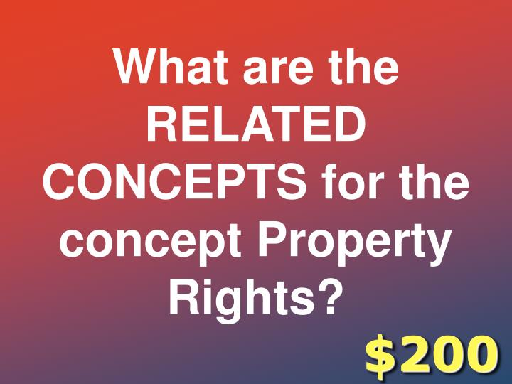 What are the RELATED CONCEPTS for the concept Property Rights?