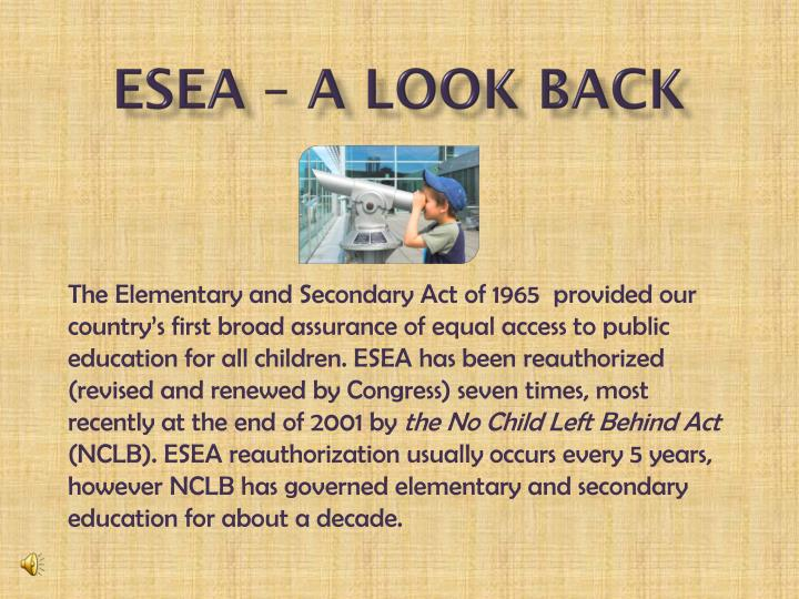 ESEA – A look back