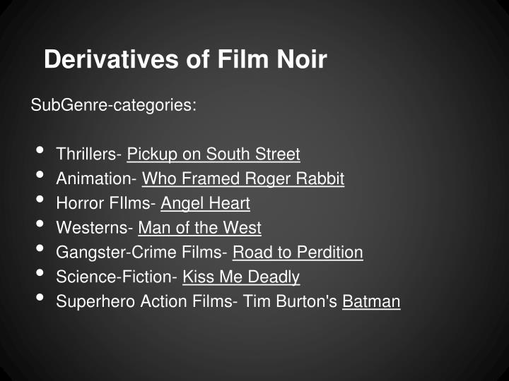 Derivatives of Film Noir