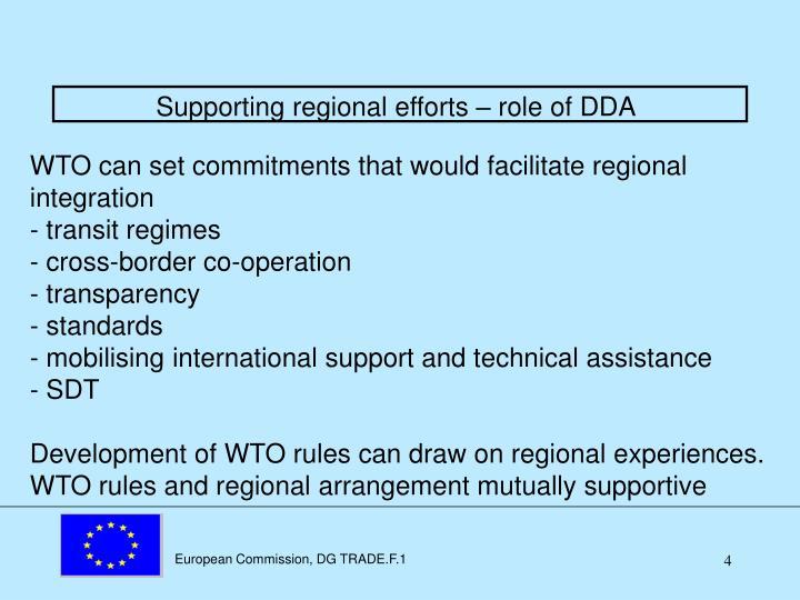 Supporting regional efforts – role of DDA