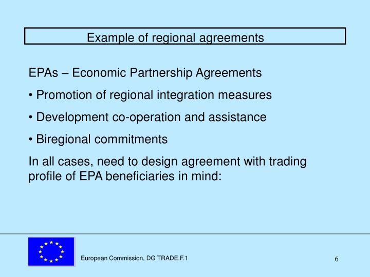 Example of regional agreements