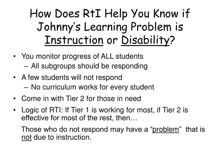 How Does RtI Help You Know if Johnny's Learning Problem is