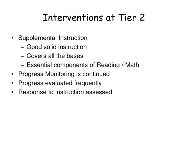 Interventions at Tier 2