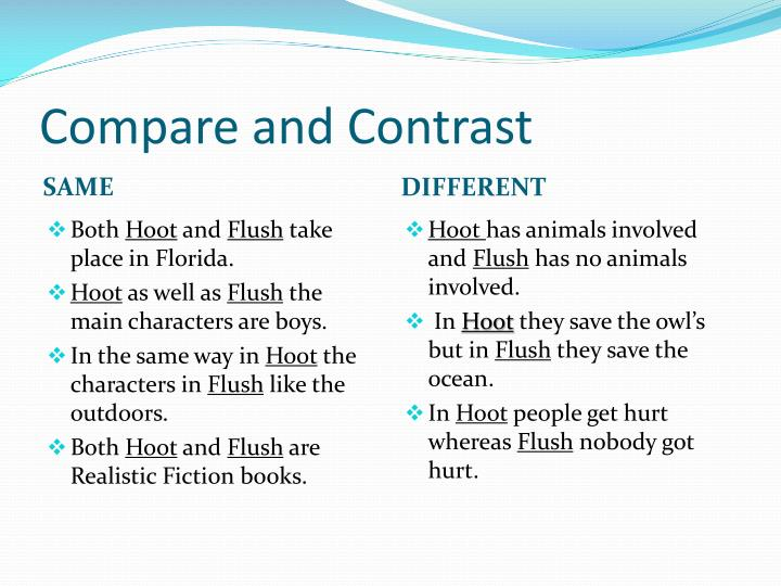 compare and contrast essay owl Compare and contrast essay of an occurrence at owl creek bridge term paper while the free essays can give you inspiration for writing, they cannot be used 'as is' because they will not meet your assignment's requirements.