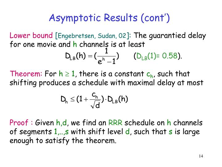 Asymptotic Results (cont')