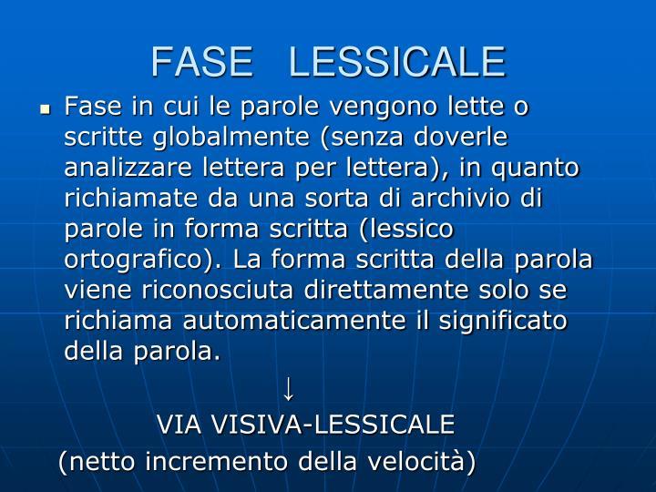 FASE   LESSICALE