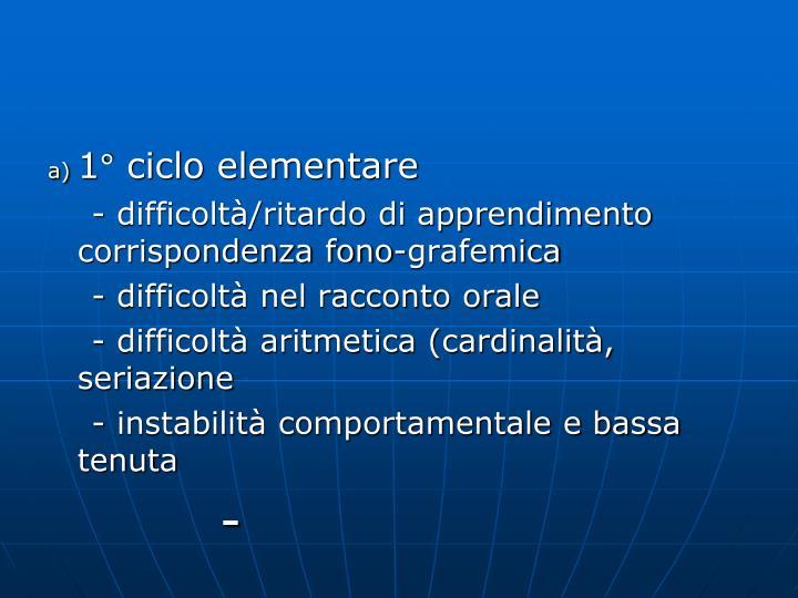 1° ciclo elementare