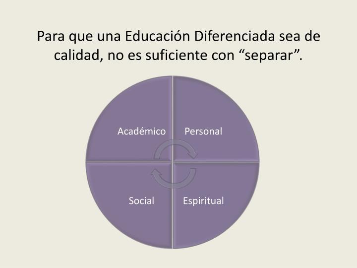 """Para que una Educación Diferenciada sea de calidad, no es suficiente con """"separar""""."""