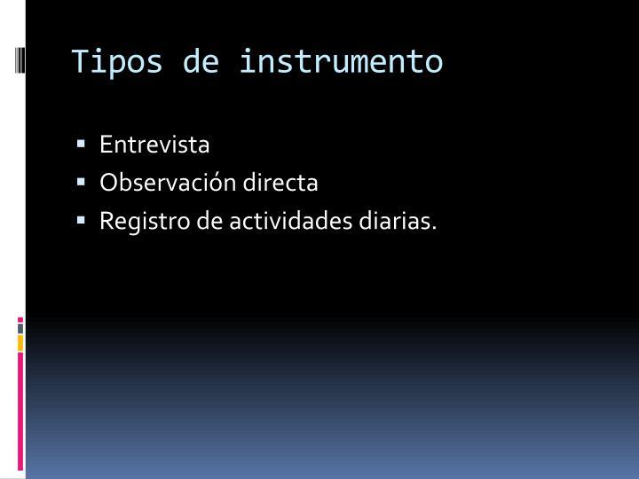 Tipos de instrumento