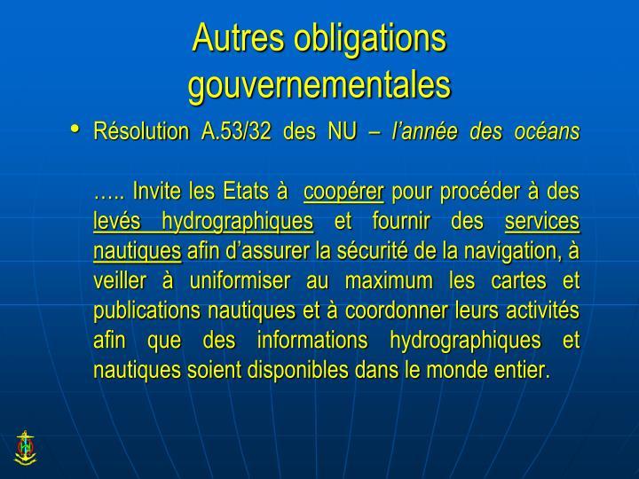 Autres obligations gouvernementales