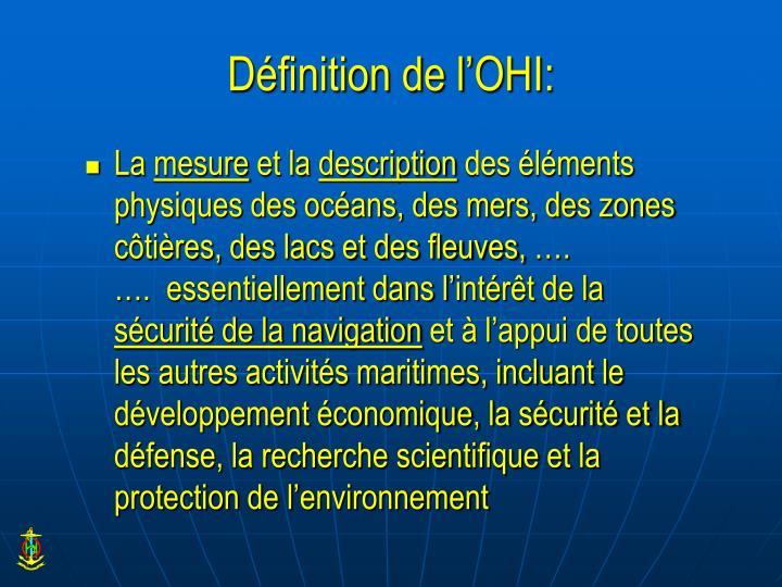 Définition de l'OHI