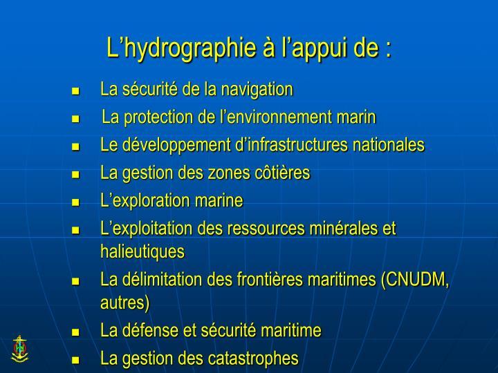 L'hydrographie à l'appui de
