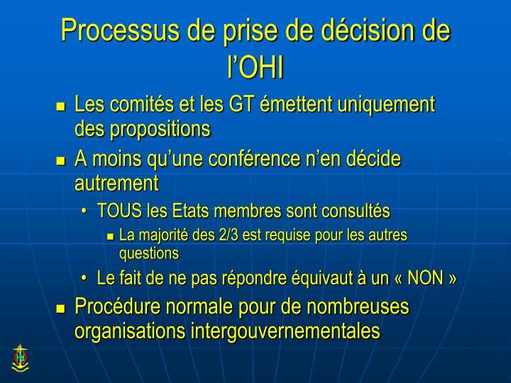 Processus de prise de décision de l'OHI