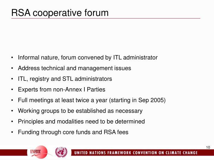 RSA cooperative forum